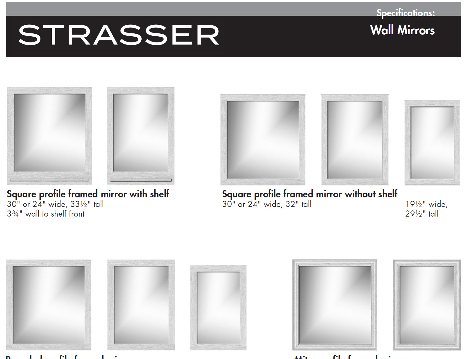 Specifications for Framed Wall Mirrors